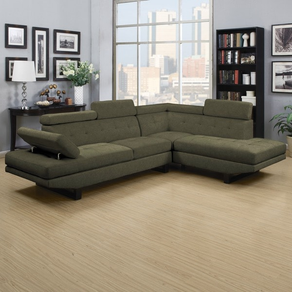 handy living fontaine basil green linen 2piece sectional