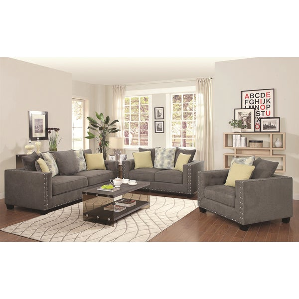 Calvin button 3 piece living room set free shipping for 3 piece living room furniture