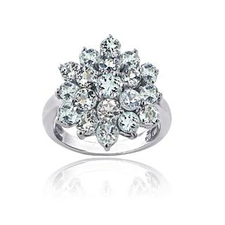 Glitzy Rocks Sterling Silver Aquamarine Flower Ring - Blue