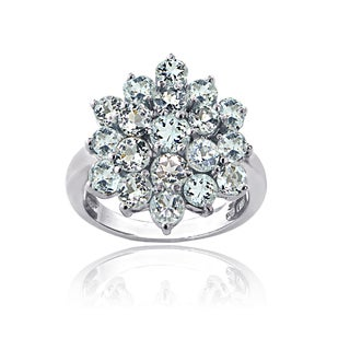 Glitzy Rocks Sterling Silver Aquamarine Flower Ring - Blue (More options available)