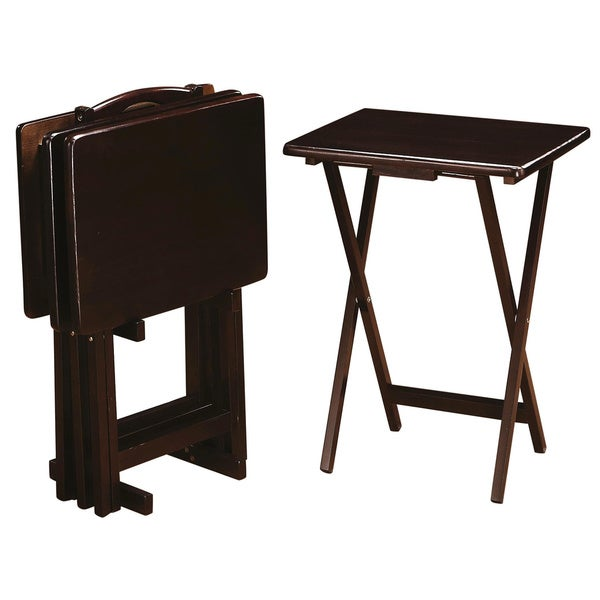 Casual 4 Piece Tray Table Set With Stand