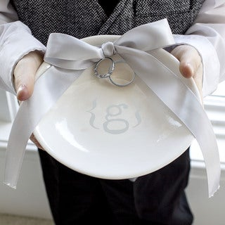 Silver Accented Personalized Wedding Ring Dish