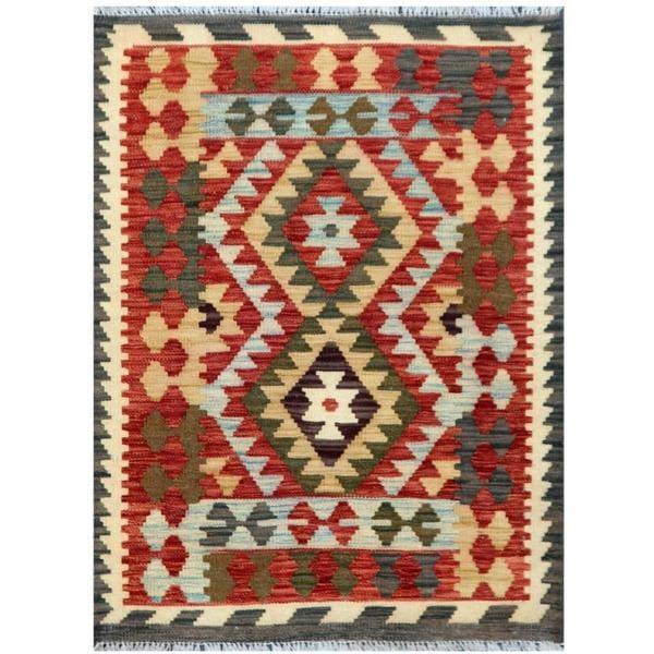 Handmade Herat Oriental Afghan Tribal Wool Kilim (Afghanistan) - 2'3 x 3'