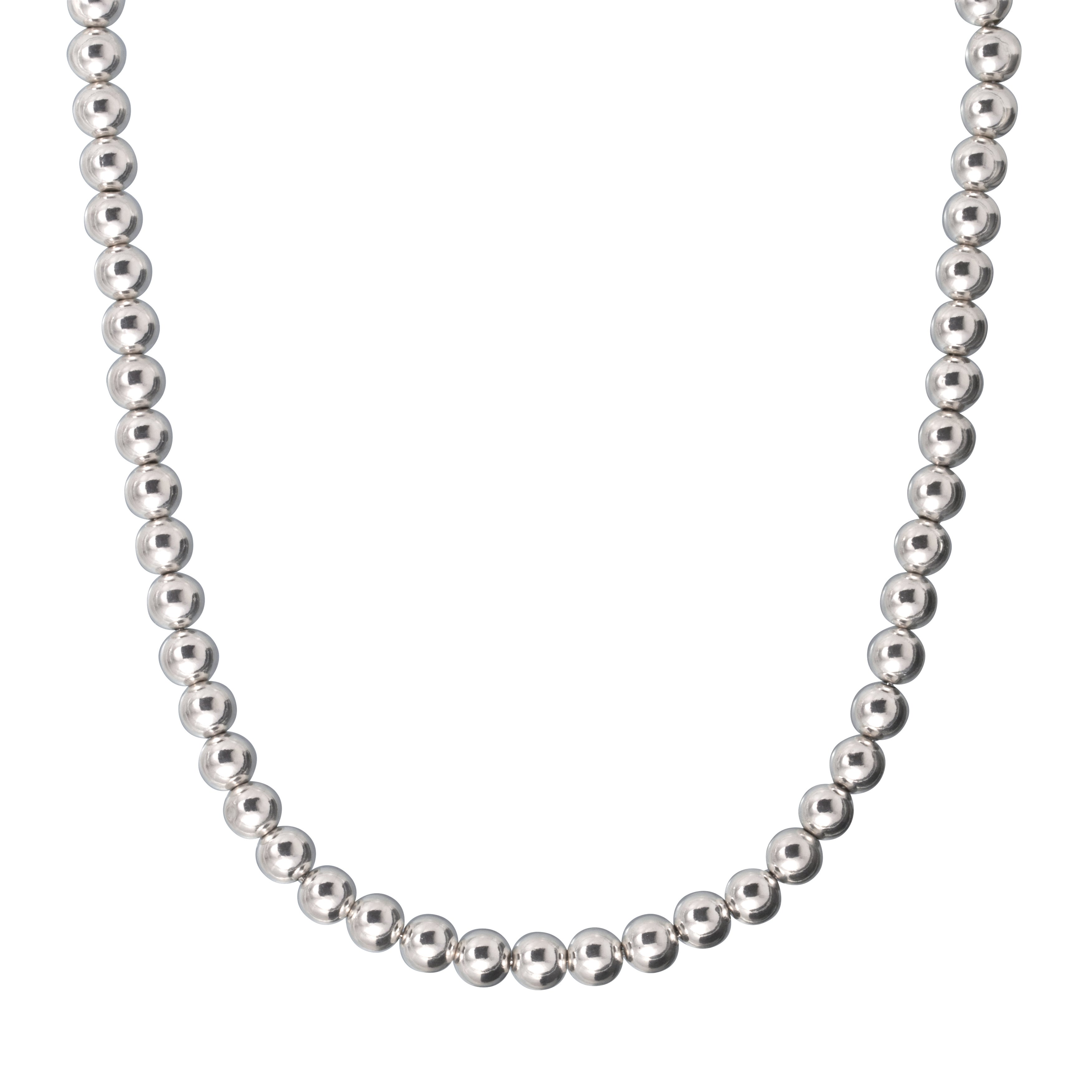 USA Karizia Sterling Silver 6 mm Bead Necklace (18 Inch W...