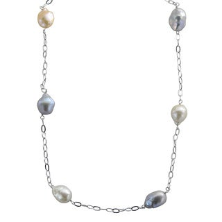Pearls For You 18-inch Sterling Silver Dyed Baroque Freshwater Pearl Station Necklace (11-12 mm)