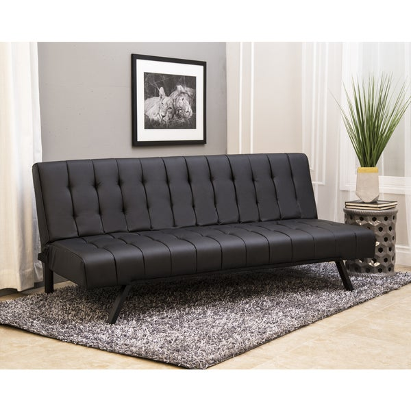 Abbyson Milan Black Faux Leather/Stainless Steel Futon Sleeper Sofa Bed
