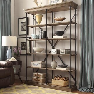Barnstone Cornice Double Shelving Bookcase by iNSPIRE Q Artisan (Option: Brown Finish)
