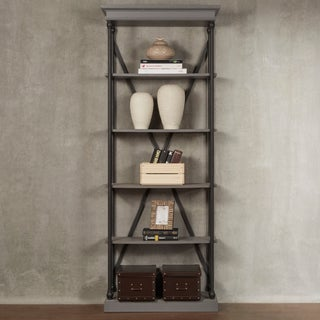 Barnstone Cornice Etagere Bookcase by iNSPIRE Q Artisan (Option: Frosting Grey Finish)