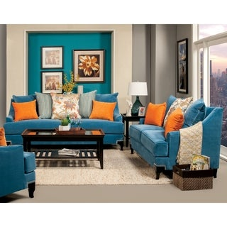 Furniture of America Estella Retro 2-Piece Peacock Blue Sofa Set