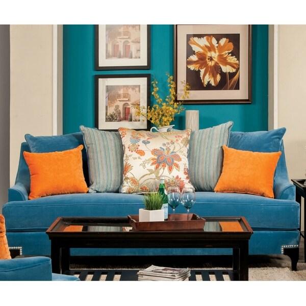 Furniture of America Keal Transitional Velvet Fabric Upholstered Sofa