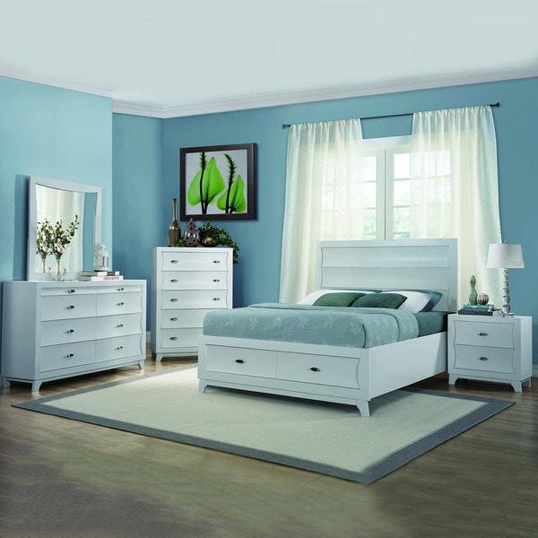 contemporary black or white platform storage 5 piece bedroom set
