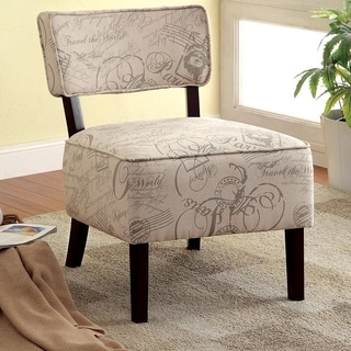 Furniture of America Traverse Contemporary Ivory Script Fabric Accent Chair