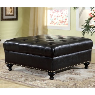 Furniture of America Charles Modern Black Tufted Leatherette Ottoman