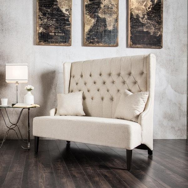 Furniture of America Good Modern Ivory Linen Fabric Loveseat Bench