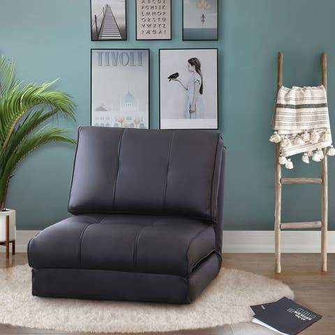 Abbyson Jackson Black Leather Single Sleeper Chair