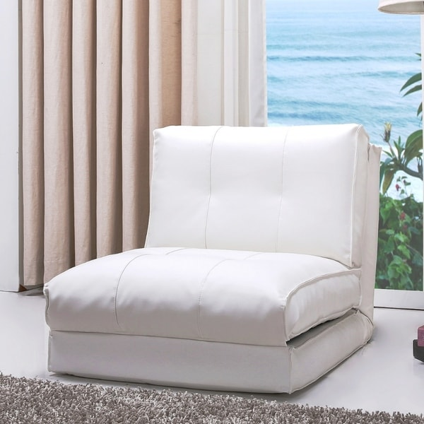 shop abbyson jackson white leather single sleeper chair on sale free shipping today. Black Bedroom Furniture Sets. Home Design Ideas