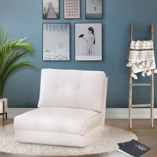 Shop Abbyson Jackson White Leather Single Sleeper Chair