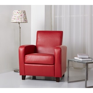 Abbyson Mercer Red Bonded Leather Club Chair