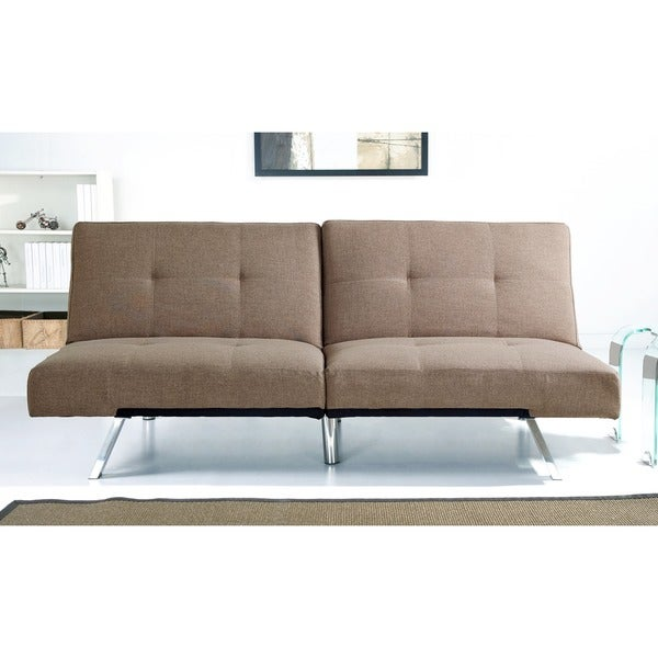 Abbyson Aspen Coffee Fabric Foldable Futon Sleeper Sofa Bed