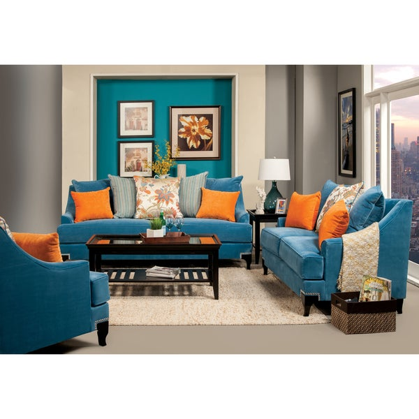 furniture of america estella retro 3 piece peacock blue sofa set - Blue Living Room Set