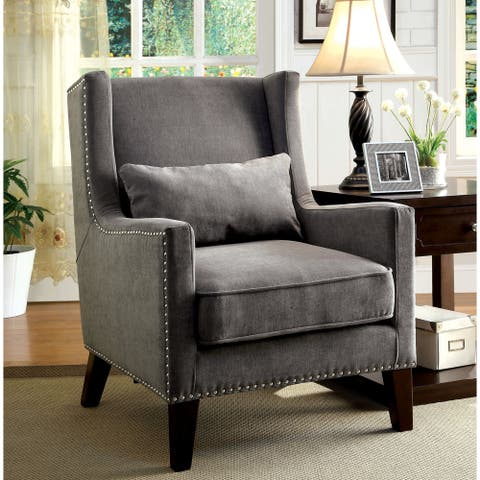 Furniture of America Zema Modern Flannelette Padded Accent Chair