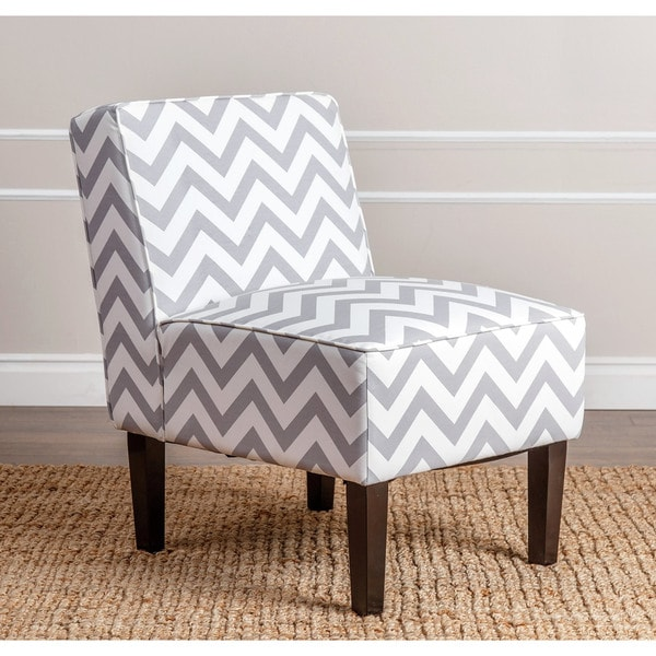 Abbyson Sasha Grey Chevron Linen Slipper Chair