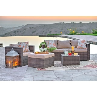 the-Hom Caribe 4-piece All-weather Dark Brown Wicker Patio Seating Set with Beige Cushions