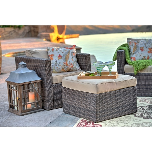 The Hom Caribe 4 Piece All Weather Dark Brown Wicker Patio Seating Set With  Beige Cushions   Free Shipping Today   Overstock.com   17080218 Part 89