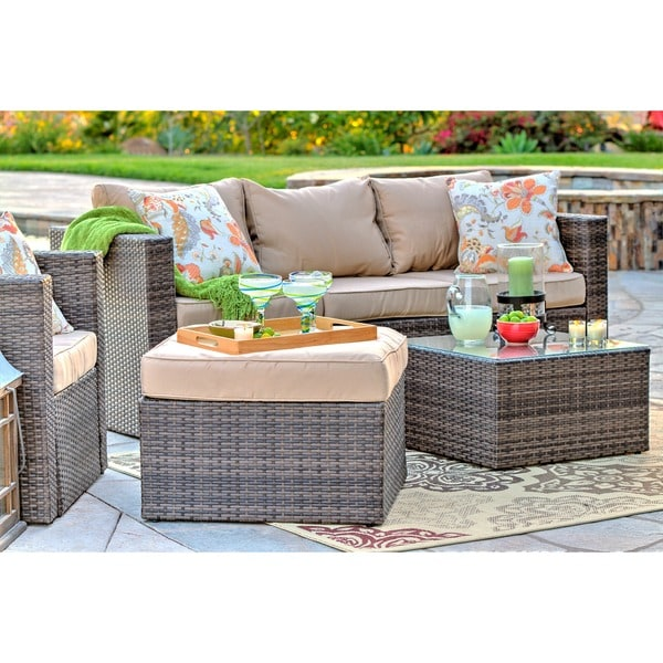 The Hom Caribe 4 Piece All Weather Dark Brown Wicker Patio Seating Set With  Beige Cushions   Free Shipping Today   Overstock.com   17080218 Part 78