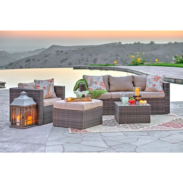 The Hom Caribe 4 Piece All Weather Dark Brown Wicker Patio Seating Set Part 70