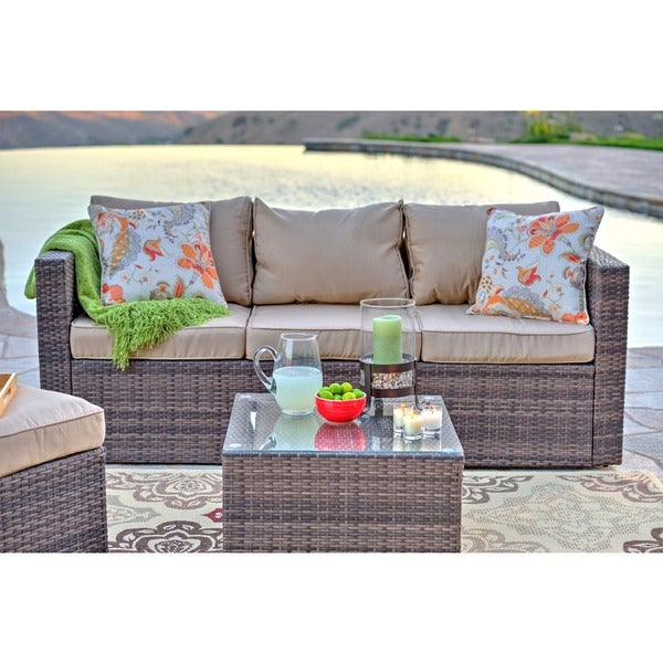 The Hom Caribe 4 Piece All Weather Dark Brown Wicker Patio Seating Set With  Beige Cushions   Free Shipping Today   Overstock.com   17080218 Part 90