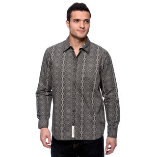 Riff Stars Men's Black and Grey 'Tattoo You' Pattern Button-down Shirt