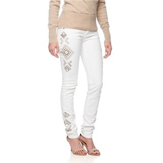 Women's White Studded Skinny Jeans