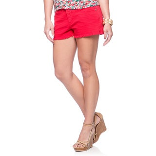 Women's Red Frayed Shorts