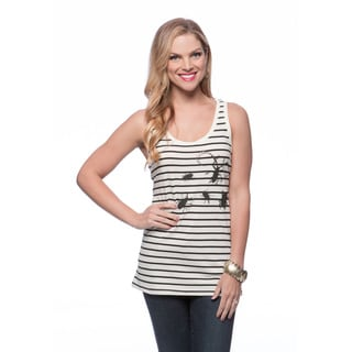 Andrew Charles Women's Black and Chalk Striped Bug Print Tank Size Large
