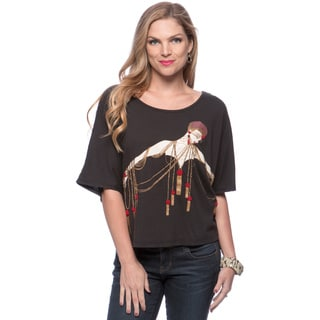 Andrew Charles Women's Jet Black Tassel Lady Tee Top