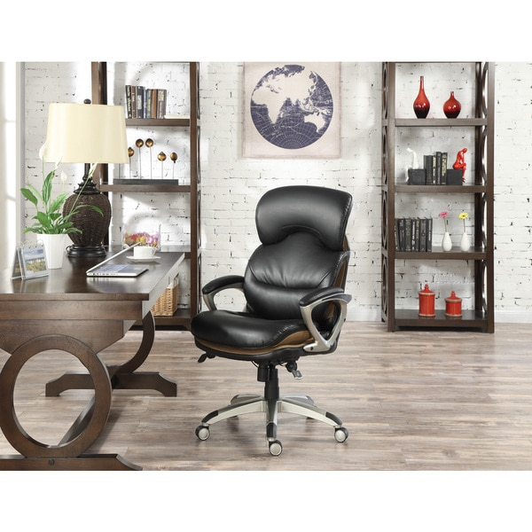 Shop Serta Wellness By Design Black Executive Leather Office Chair