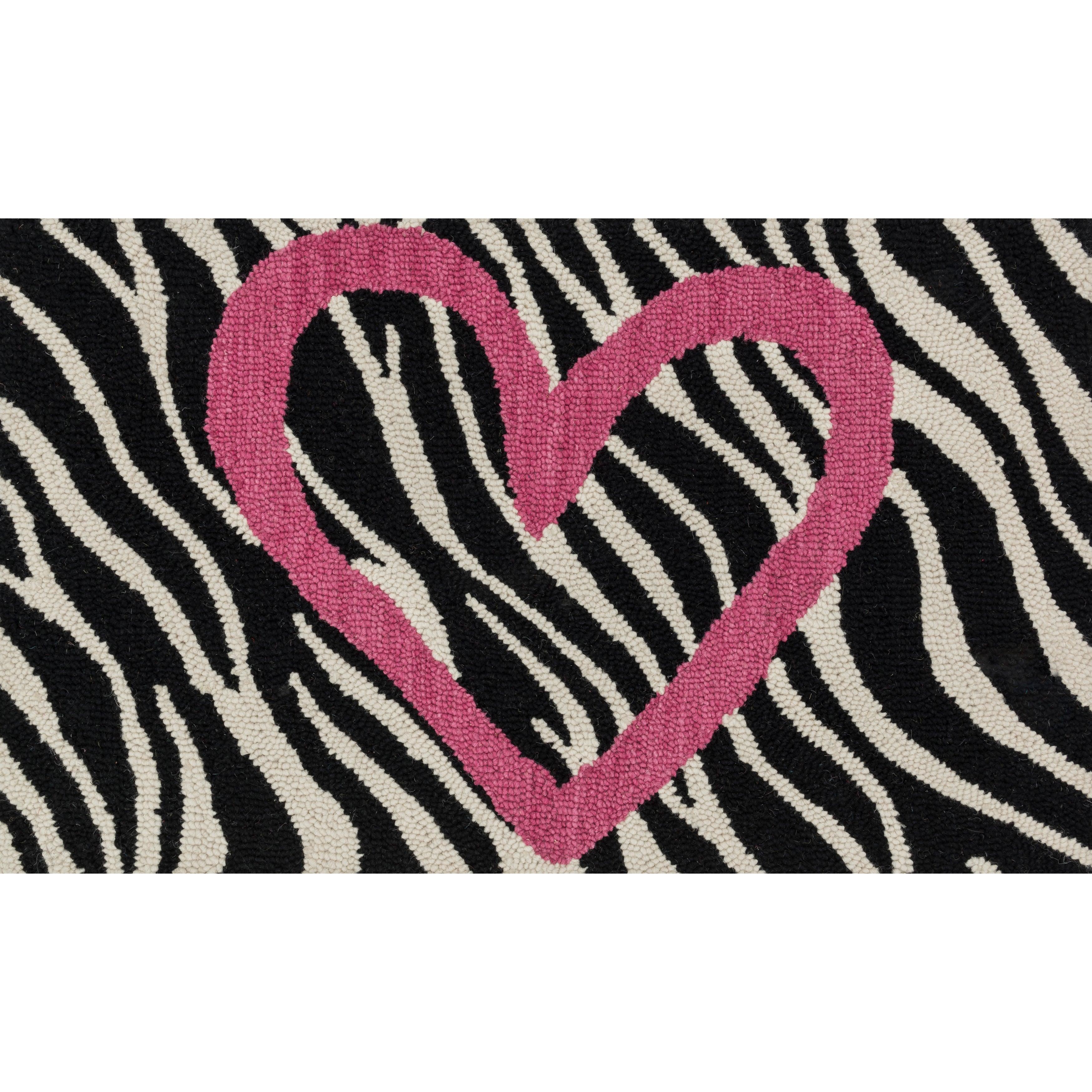 Alexander Home Hand-tufted Keely Ivory/ Pink Zebra Heart ...