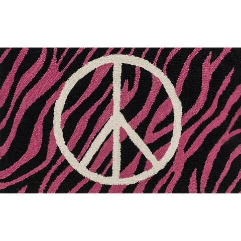"Hand-tufted Keely Pink/ Ivory Zebra Peace Rug (2'3 x 3'9) - 2'3"" x 3'9"""