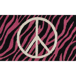 Hand-tufted Keely Pink/ Ivory Zebra Peace Rug (2'3 x 3'9)