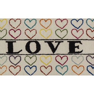 "Hand-tufted Keely Ivory/ Multi Love Rug (2'3 x 3'9) - 2'3"" x 3'9"""