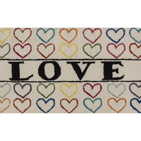 """Hand-tufted Keely Ivory/ Multi Love Rug (2'3 x 3'9) - 2'3"""" x 3'9"""""""