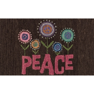 """Hand-tufted Keely Brown/ Pink Floral Peace Rug (2'3 x 3'9) - 2'3"""" x 3'9"""""""