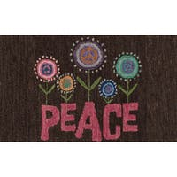 """Hand-tufted Keely Brown/ Pink Floral Peace Rug - 2'3"""" x 3'9"""""""