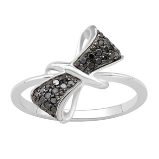 Divina Sterling Silver 1/5ct TDW Diamond Fashion Ring Black Diamond (Black, I3)