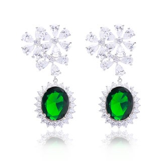 Blue Box Jewels Green Cubic ZIrconia Flower Clasp Earrings
