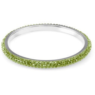 Sterling Silverplated Olive Green Crystals Bangle