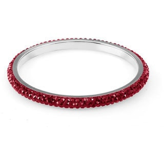 Sterling Silverplated Dark Red Crystals Bangle
