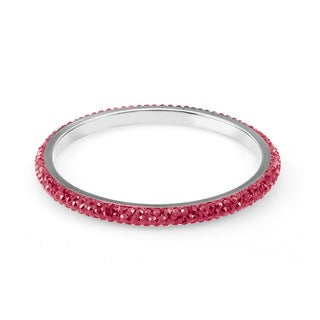 Sterling Silverplated Light Red Crystals Bangle