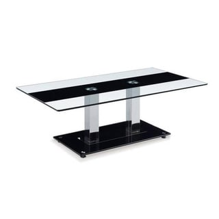 Black Stripe Glass Coffee Table